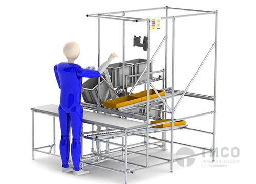 Рабочий верстак с гравитационной подачей и отгрузкой продукции