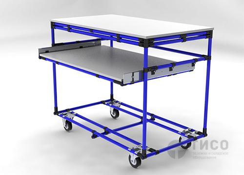Модульная тележка-рабочий стол с полкой