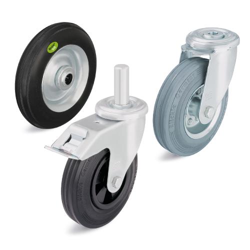 Колеса и ролики с литыми резиновыми шинами