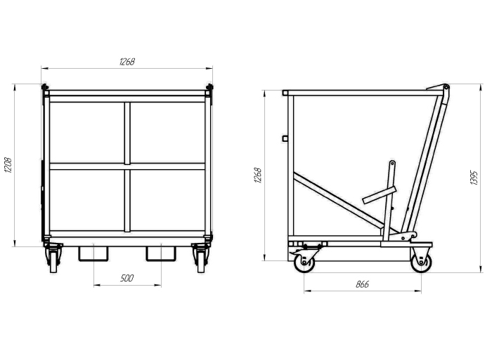 Схема саморазгружающегося контейнера