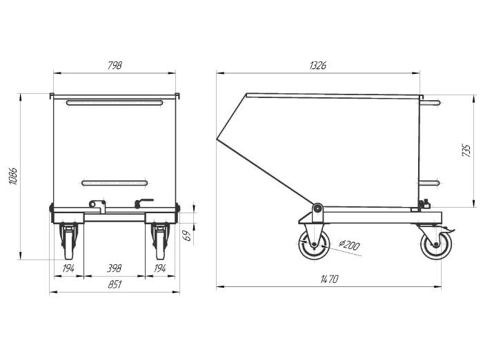 Схема контейнера с ручным опрокидыванием