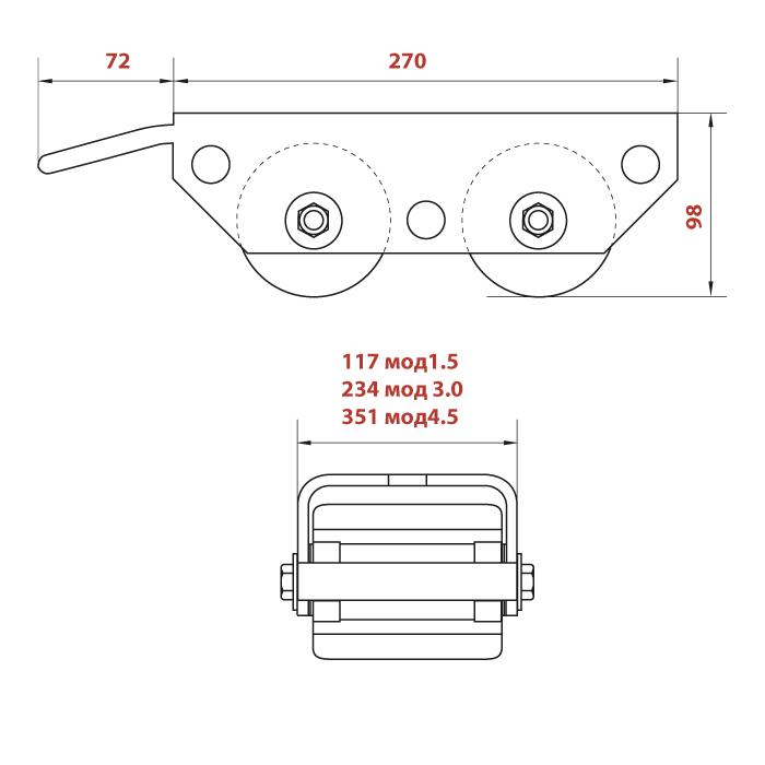 Схема подкатных тележек